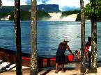 Canaima lagoon white sand red water